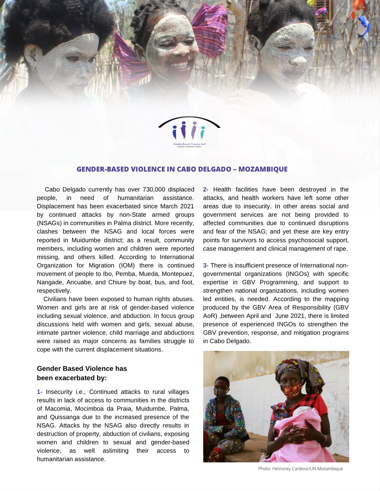 GBV AoR (Area of Responsibility) Advocacy Note for Cabo Delgado