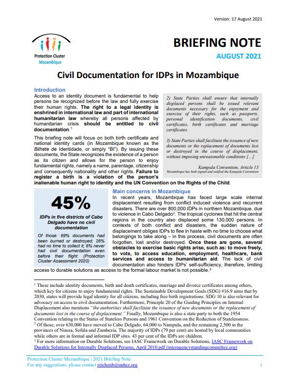 Documentação Civil para deslocados internos em Moçambique